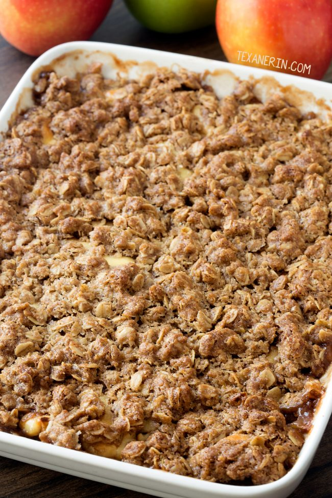 Caramel Apple Cheesecake Crisp (gluten-free and whole grain)