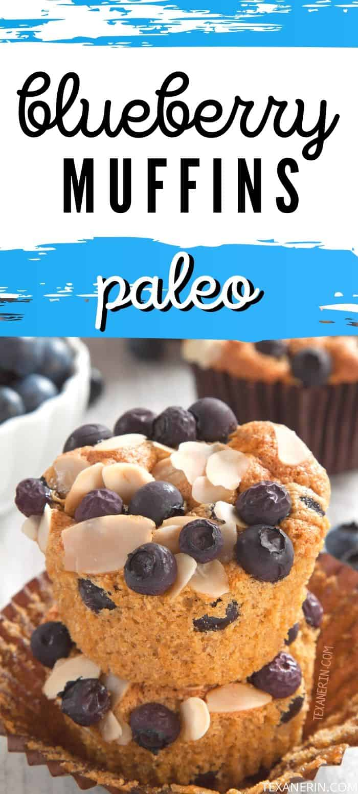The best paleo blueberry muffins ever! They have a great texture, like angel food cake, and a delicious almond taste. Grain-free, gluten-free and dairy-free. An amazing paleo muffin recipe!