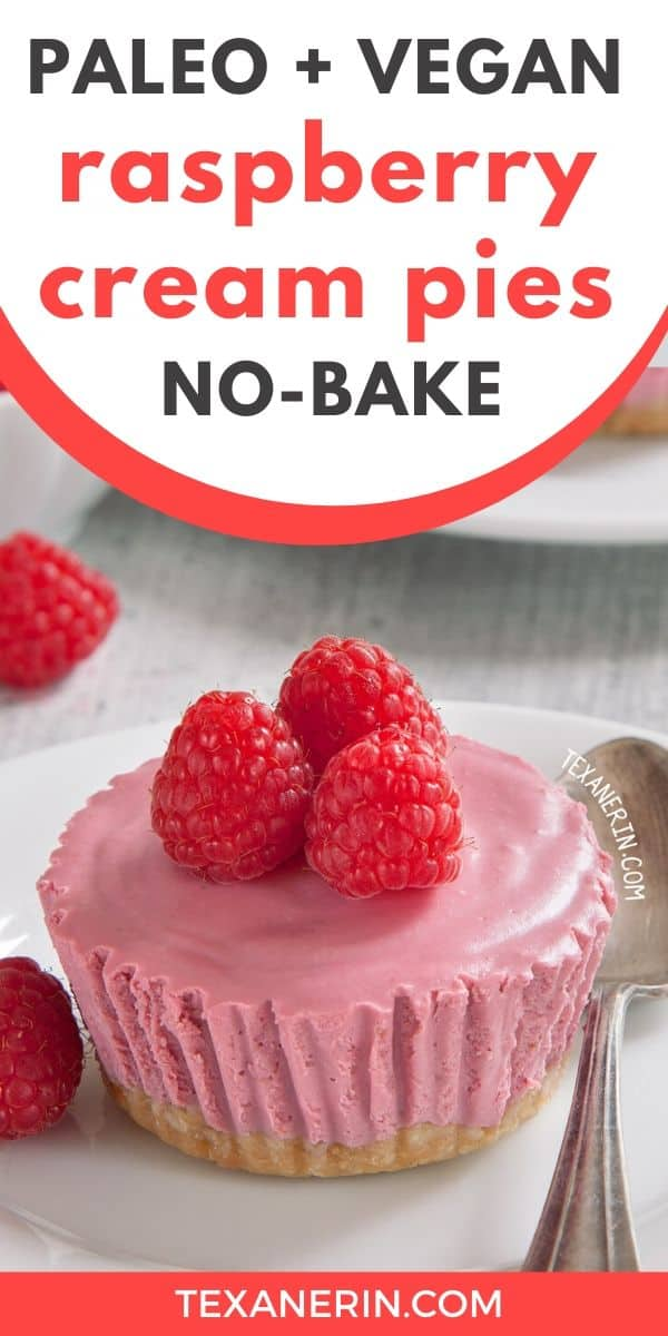 These paleo no-bake raspberry cream pies have a super smooth and creamy filling and a cashew and toasted coconut-based crust. Vegan, grain-free, gluten-free and dairy-free.