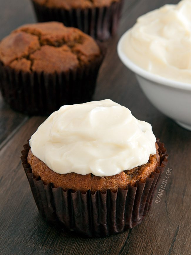 Healthier Cream Cheese Frosting – with only a fraction of the sugar used in regular recipes! Can be piped.