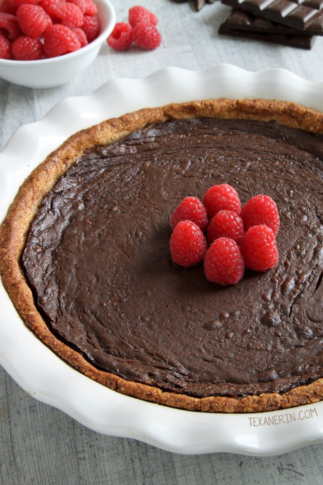 This Paleo Chocolate Fudge Pie is silky, smooth, fudgy and decadent and has an almond flour based crust.