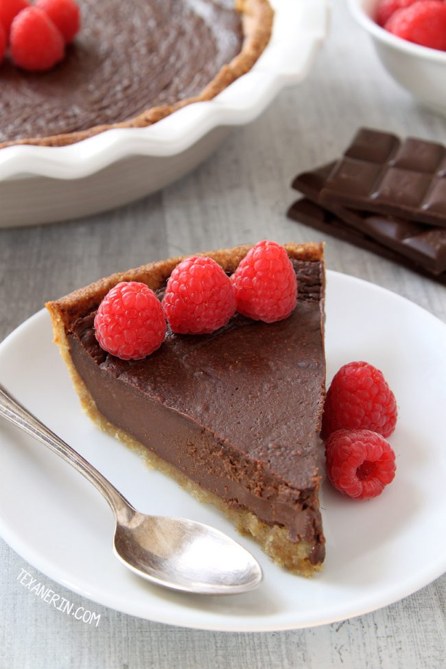 Paleo Chocolate Fudge Pie –  silky smooth and decadent with an almond flour based crust.