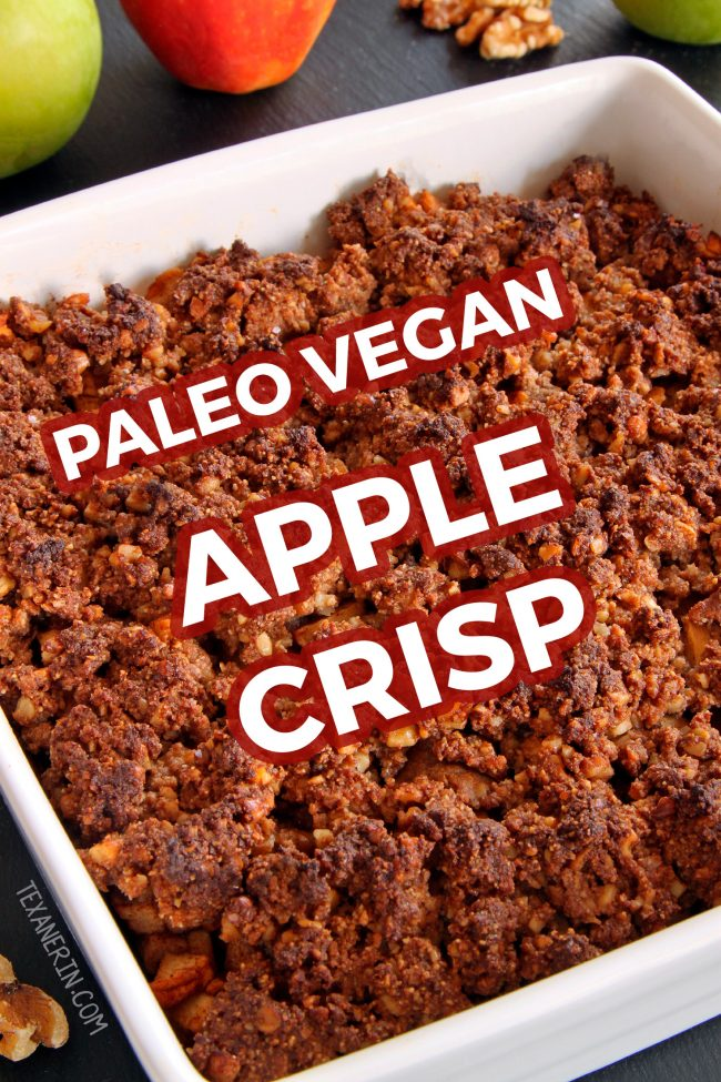 This delicious paleo apple crisp is vegan, so easy to make and totally maple-sweetened. With a crunchy nut-based topping! Grain-free, gluten-free and dairy-free. With a video.