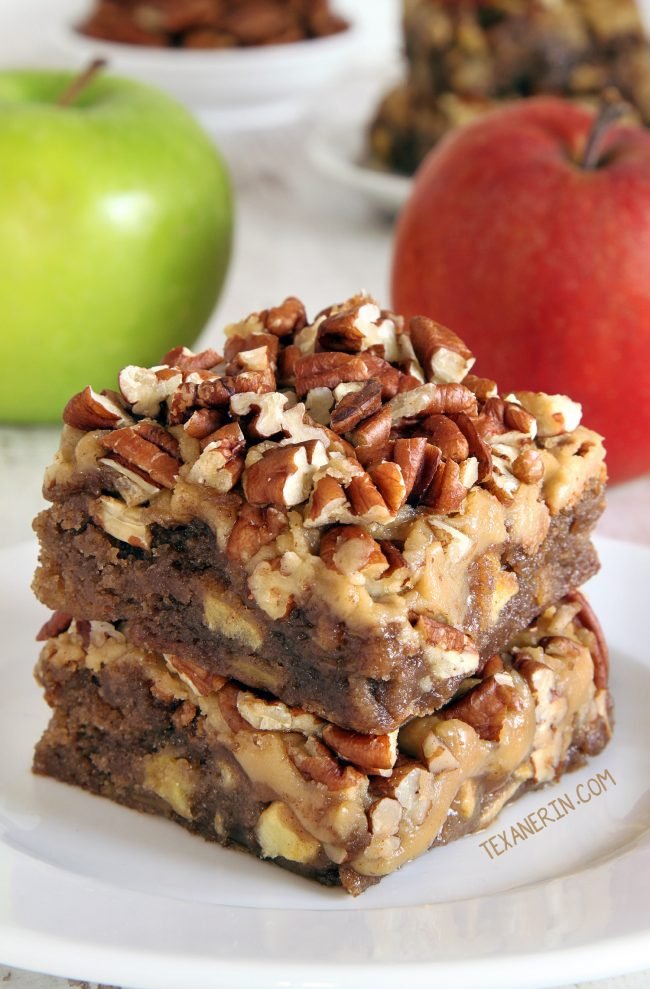 Apple Brownies with a delicious and easy caramel frosting! (gluten-free, whole grain and all-purpose flour options)
