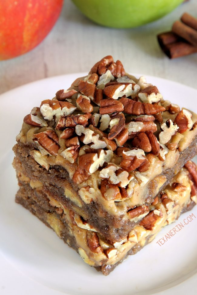 Apple Blondies with an amazing caramel frosting! (gluten-free, whole grain and all-purpose flour options)