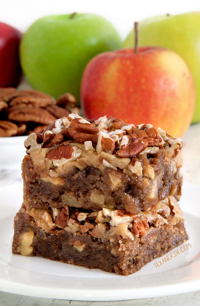 Apple brownies with an amazingly easy caramel frosting! (gluten-free, whole grain and all-purpose flour options)