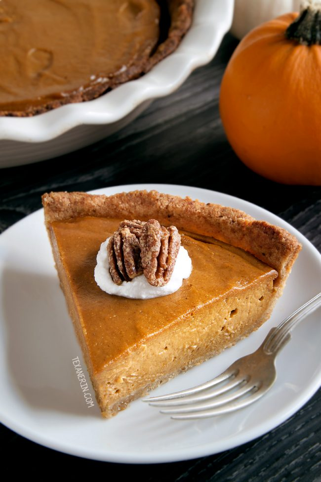 Paleo Vegan Pumpkin Pie – has a richer and creamier pumpkin filling than your traditional pumpkin pie! A great grain-free, dairy-free and gluten-free dessert for Thanksgiving.