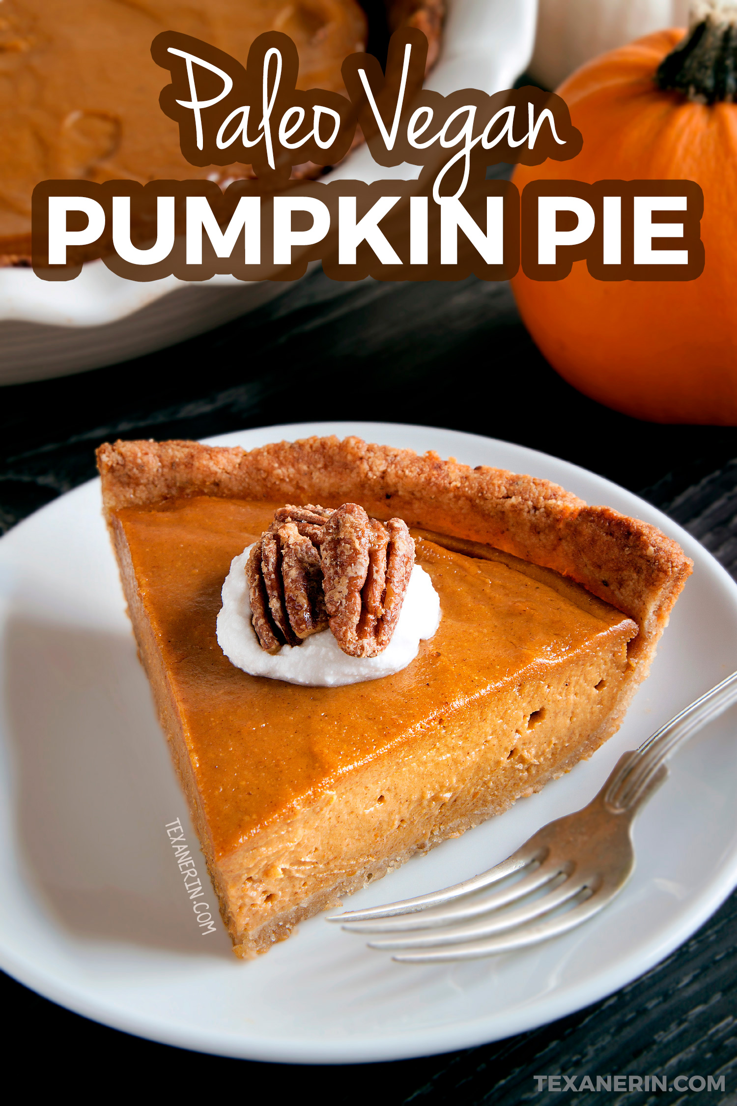 This Paleo Vegan Pumpkin Pie has a richer and creamier pumpkin filling than your traditional pumpkin pie! A great grain-free, dairy-free and gluten-free dessert for Thanksgiving. With a how-to recipe video.
