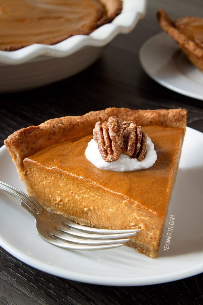 This paleo vegan pumpkin pie has a richer and creamier pumpkin filling than your traditional pumpkin pie! A great dairy-free, grain-free and gluten-free dessert for Thanksgiving.