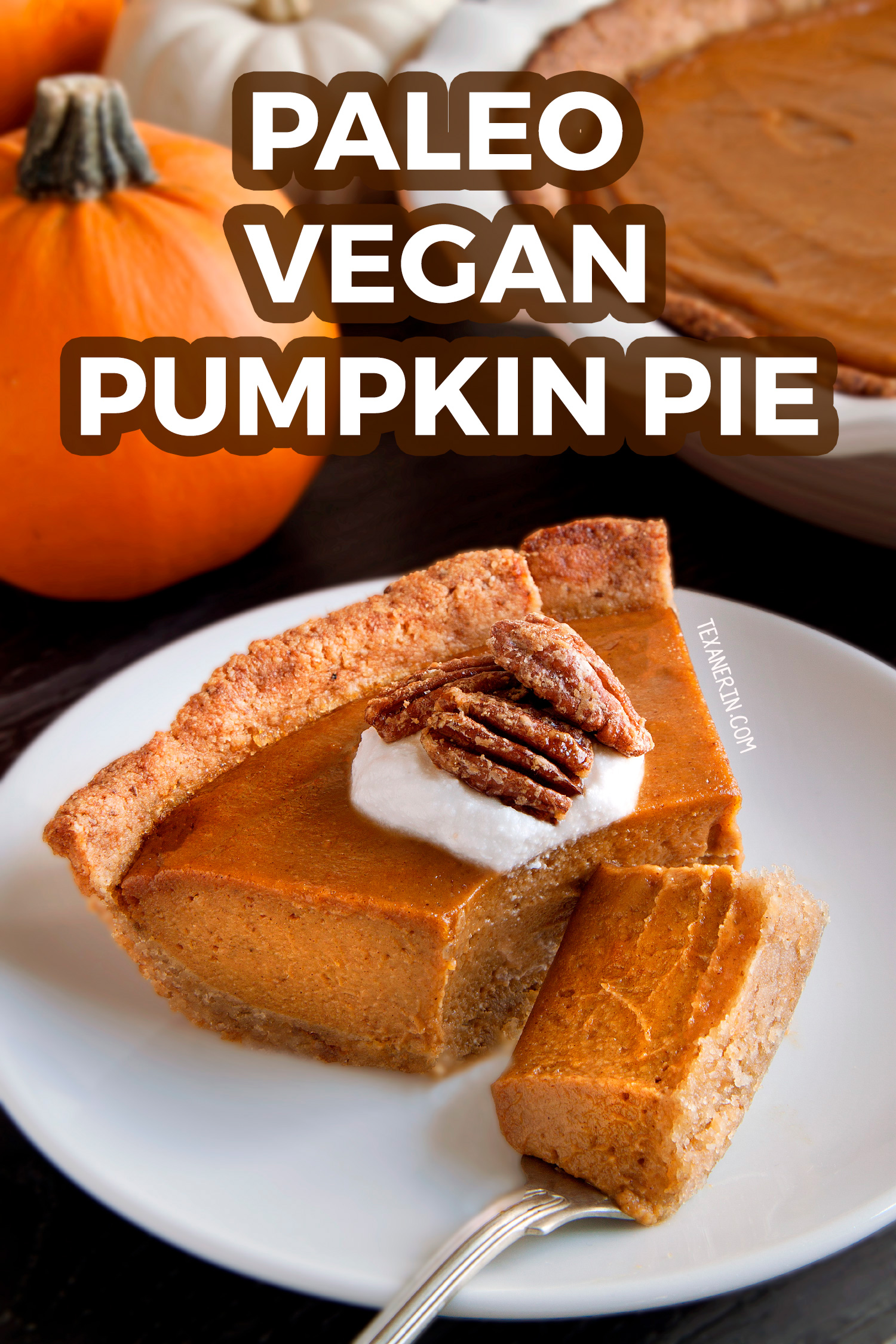 This amazing Paleo Vegan Pumpkin Pie has a richer and creamier pumpkin filling than your traditional pumpkin pie! A great grain-free, dairy-free and gluten-free dessert for Thanksgiving. With a how-to recipe video.