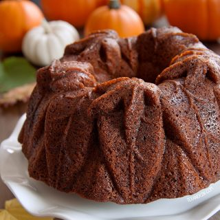 Pumpkin Bourbon Bundt Cake with gluten-free, whole wheat and all-purpose flour options.