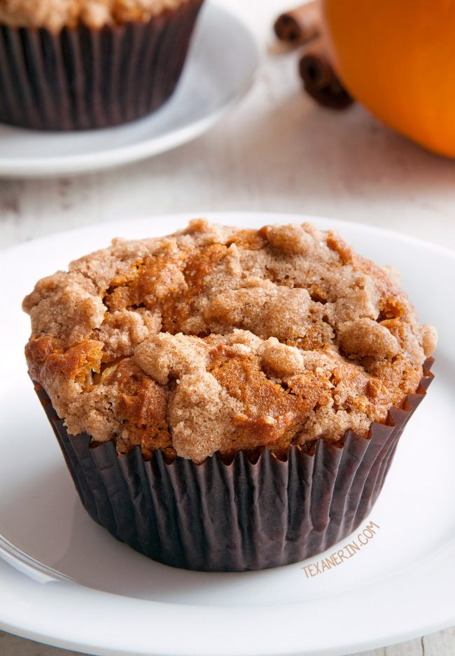 Pumpkin Cream Cheese Muffins – amazingly moist with a generous amount of filling! With gluten-free, whole grain and all-purpose flour options.