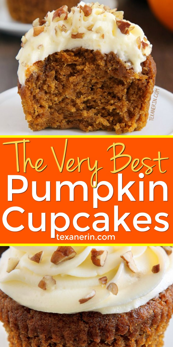 These pumpkin cupcakes are super moist, incredibly delicious and topped off with cream cheese frosting (with a dairy-free option). Can be made gluten-free, 100% whole grain and with all-purpose flours.