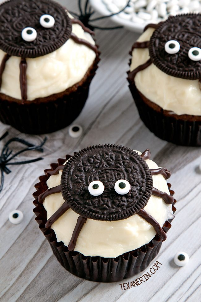 Easy to make spider cupcakes for Halloween with a pumpkin cupcake base and cream cheese frosting! With grain-free, gluten-free, whole grain and all-purpose flour options. Please click through to the recipe to see all the dietary-friendly options.