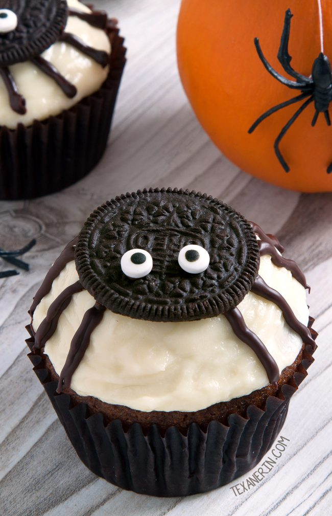 Spider Cupcakes for Halloween (gluten-free, whole wheat, grain-free options)
