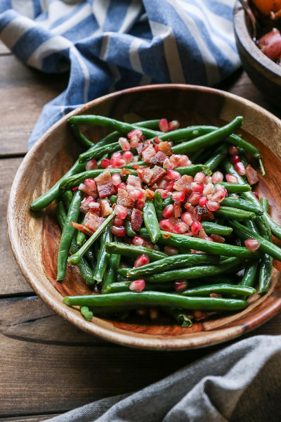 Pan-fried Bacon Green Beans with Pomegranate Seeds from The Roasted Root