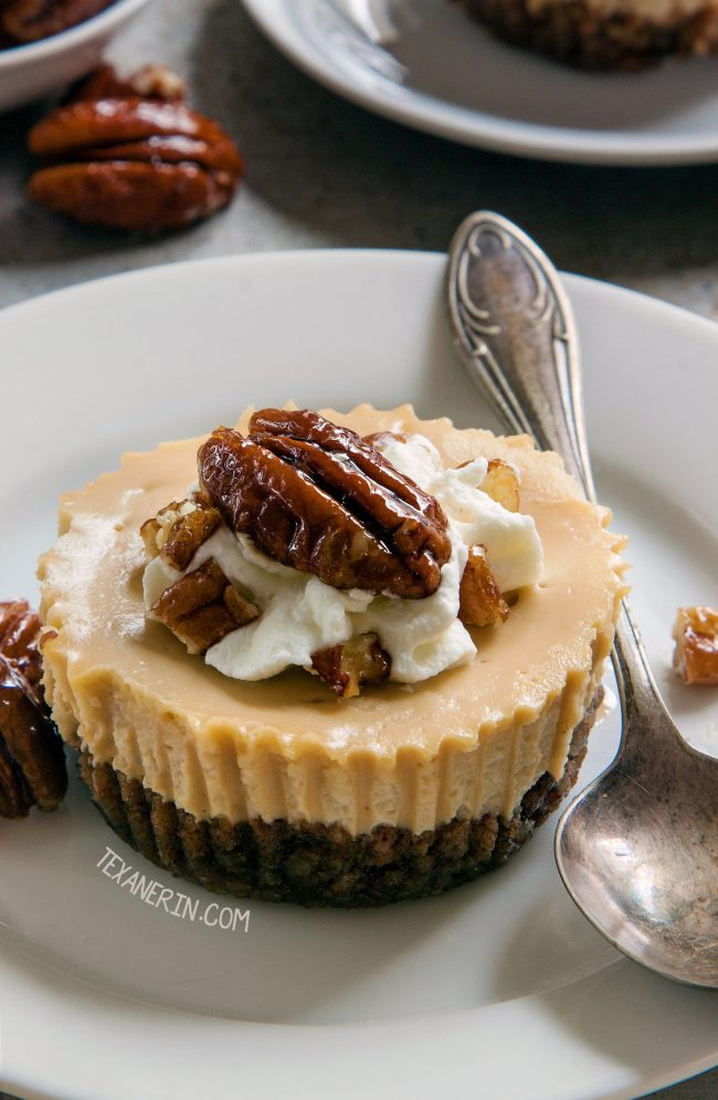 These maple cheesecakes have a grain-free pecan crust but can also be made with graham crackers for a whole grain, gluten-free or traditional graham cracker crust!