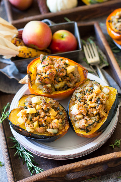 Sausage Stuffed Acorn Squash from Paleo Running Momma