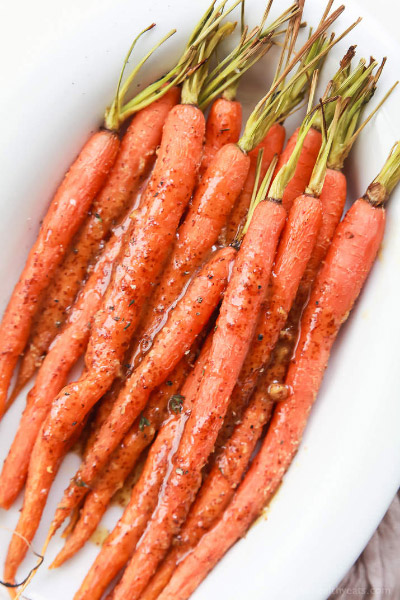 3-ingredient Honey Mustard Glazed Carrots from Joyful Healthy Eats