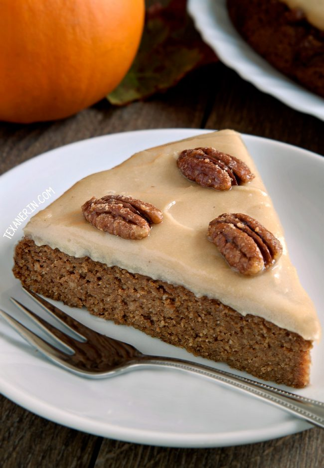 This delicious paleo pumpkin cake is nice and moist and super easy to make! Topped off with maple cream frosting and maple candied pecans.