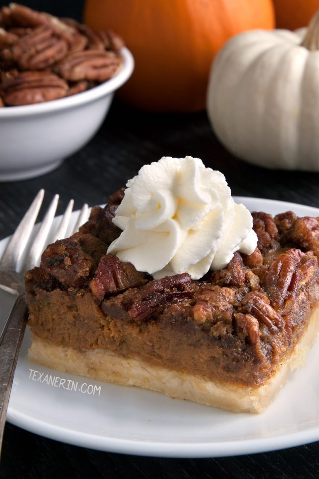 Easy and Delicious Pumpkin Pecan Pie Bars with a homemade sugar cookie crust (gluten-free, whole grain, all-purpose flour options)