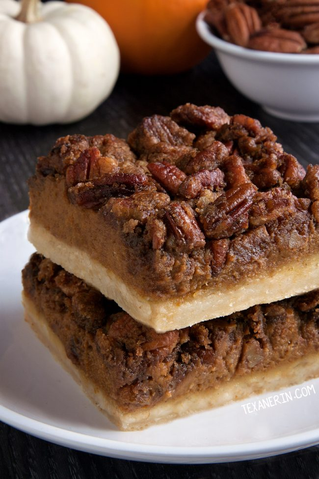 Easy and Delicious Pumpkin Pecan Pie Bars with a homemade sugar cookie crust (gluten-free, whole grain, and all-purpose flour options)
