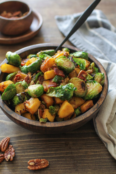 Maple Cinnamon Glazed Acorn Squash and Brussels Sprouts with Bacon from The Roasted Root