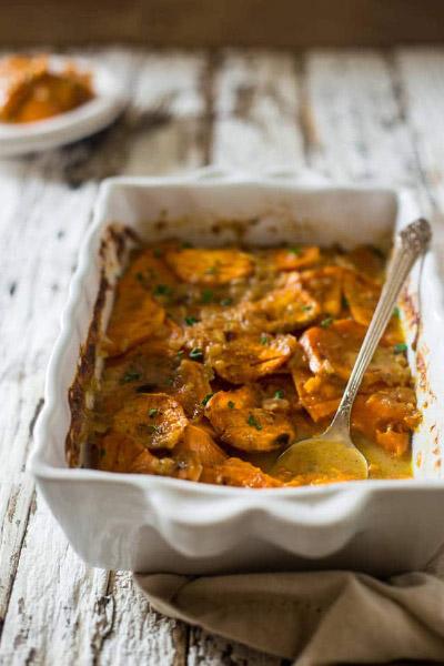 Scalloped Sweet Potatoes (vegan) from Food Faith Fitness