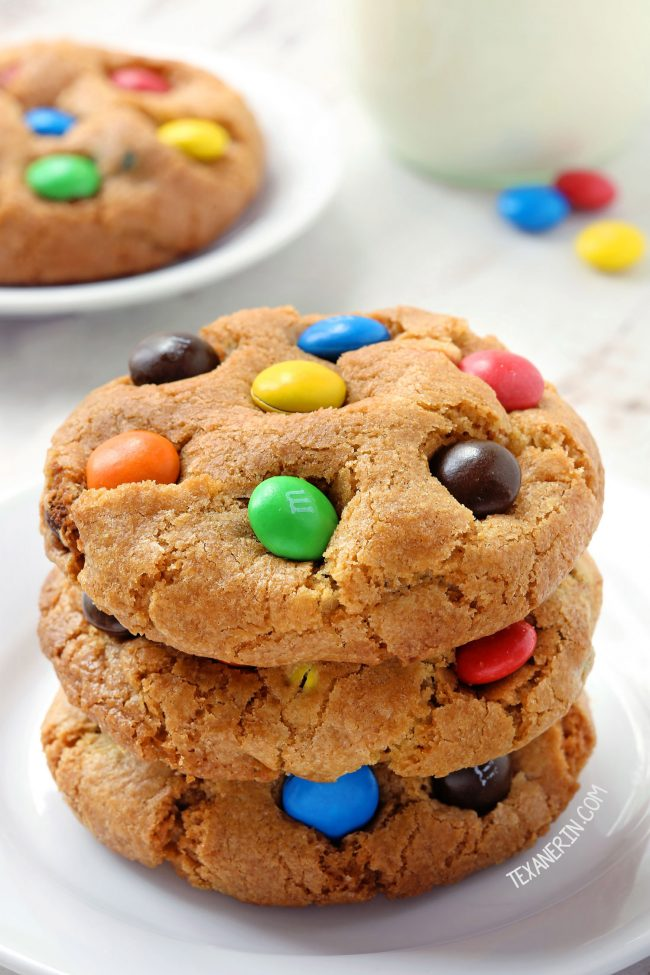 Gluten-free M&M Cookies (whole wheat and all-purpose flour options)
