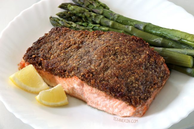 Easy Paleo Pecan-crusted Salmon (Whole30, grain-free, dairy-free, gluten-free)