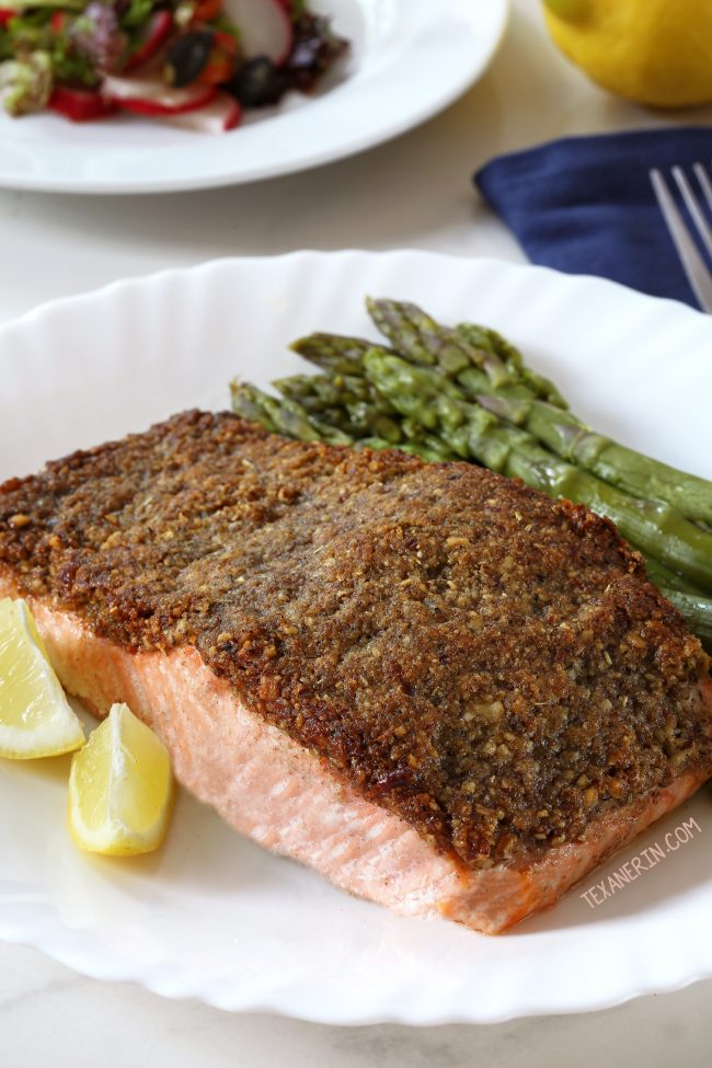Easy Paleo Pecan-crusted Salmon (Whole30, grain-free, dairy-free, and gluten-free)