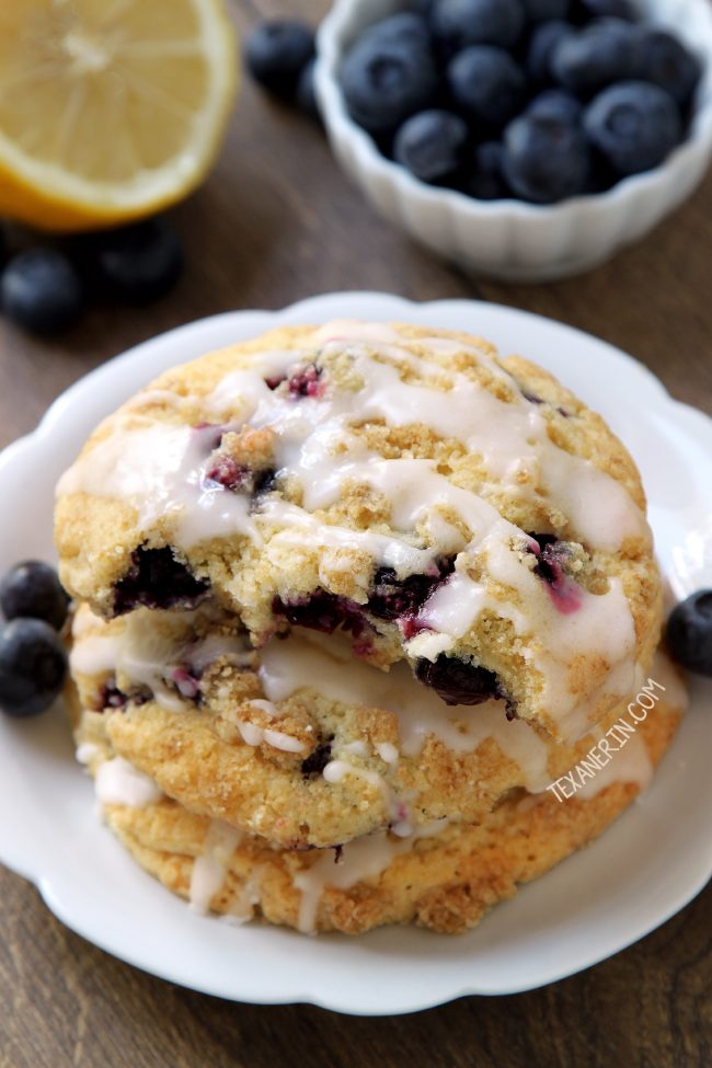 These blueberry cookies have a streusel coating, a nice lemon flavor and are just like a blueberry muffin top! With gluten-free, whole wheat and all-purpose flour options.
