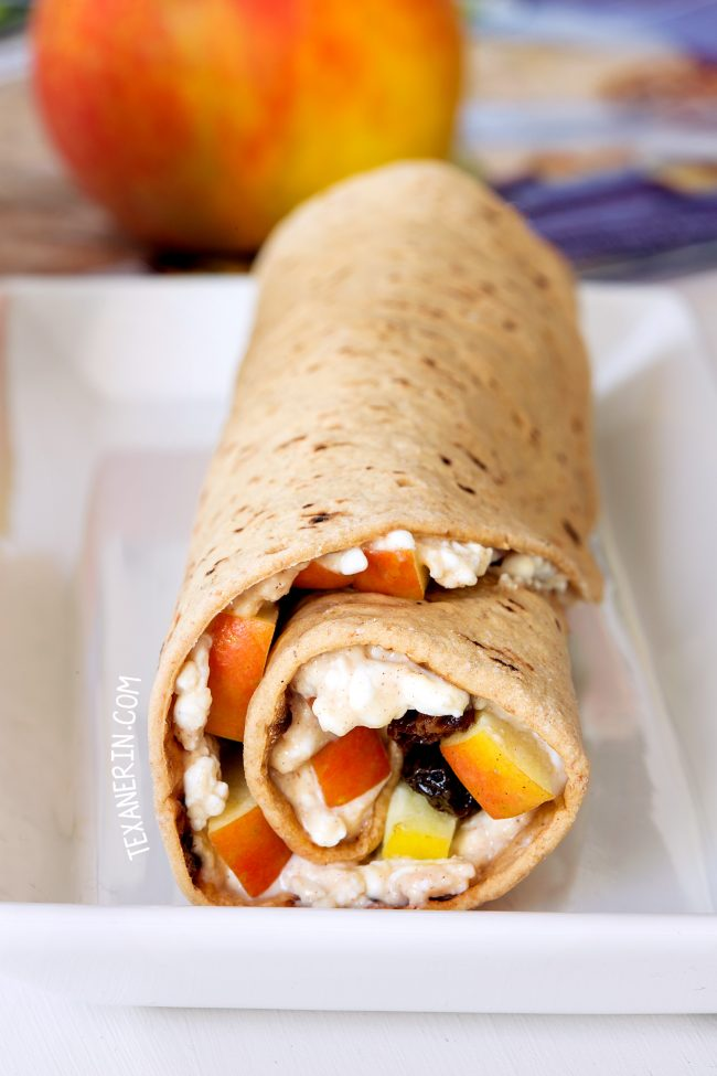 Healthy wraps with peanut butter, apple, cottage cheese and raisins make a great make-ahead lunch perfect for the lunchbox. With a gluten-free option.