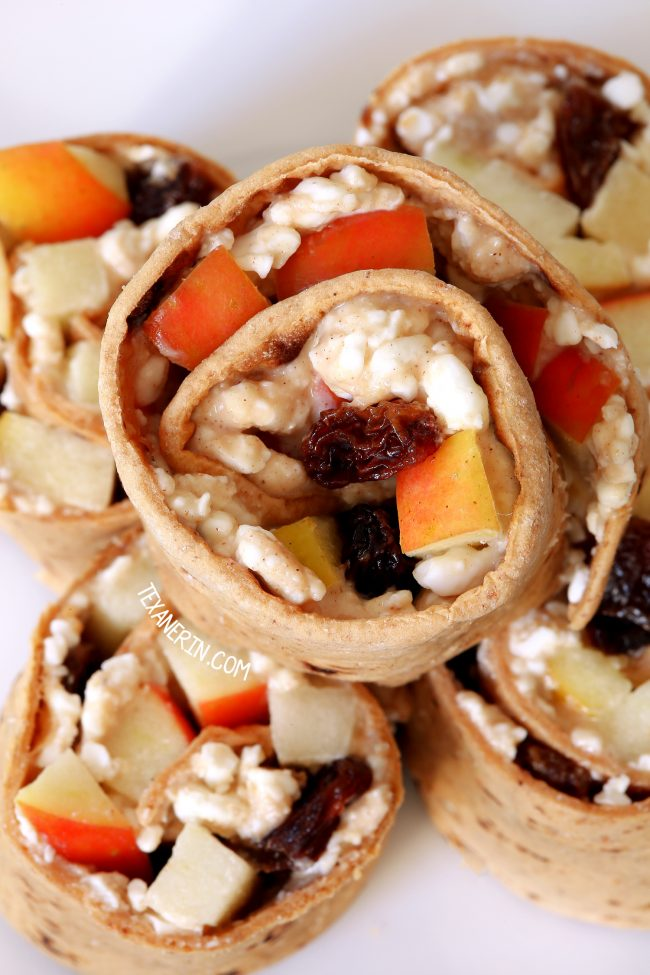 Healthy wraps with peanut butter, apple, and cottage cheese make a great make-ahead lunch perfect for the lunchbox. With a gluten-free option.