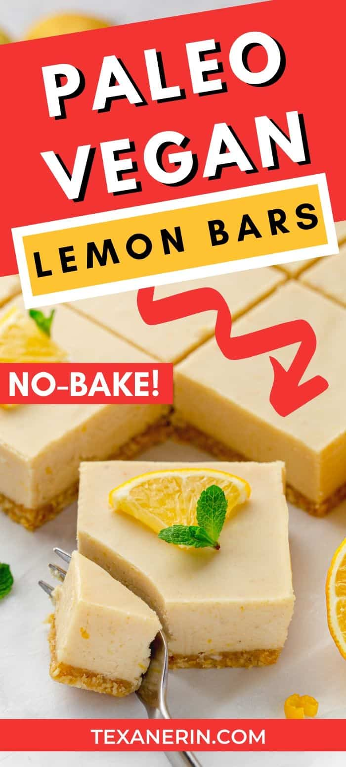 Vegan lemon bars with a super creamy, cashew-based paleo and no-bake topping! Full of lemon flavor and maple-sweetened. An amazing vegan dessert recipe.