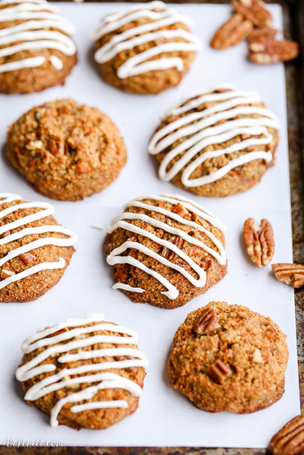 Carrot cake cookies with cream cheese glaze