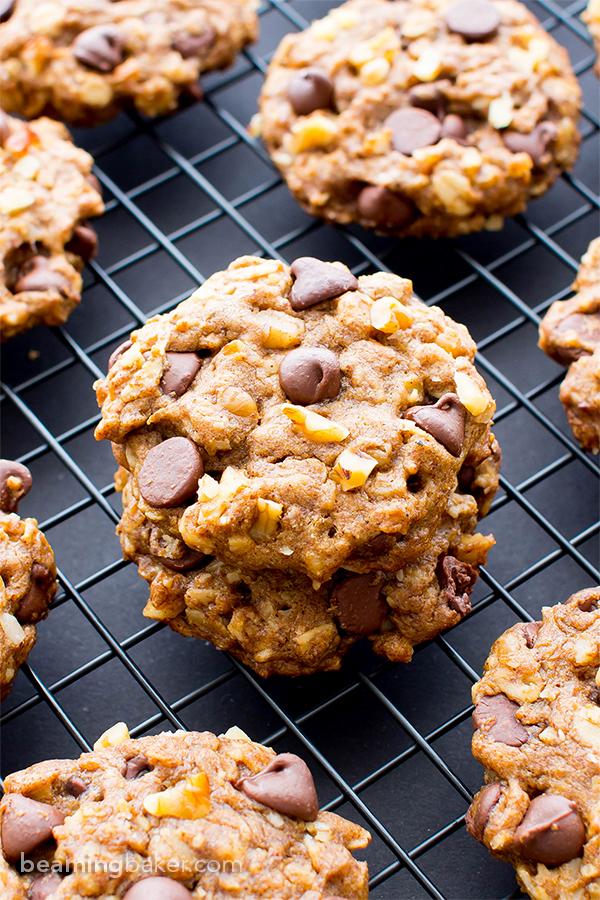 Vegan almond butter chocolate chip walnut oat cookies