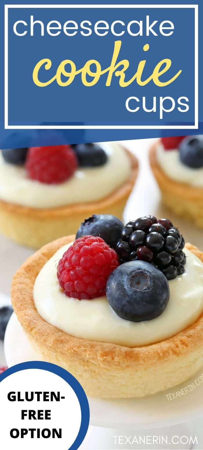These cheesecake cookie cups have a sugar cookie crust and a delicious white chocolate cream cheese filling. Can be made with gluten-free, whole wheat or all-purpose flour. A great July 4th dessert recipe!
