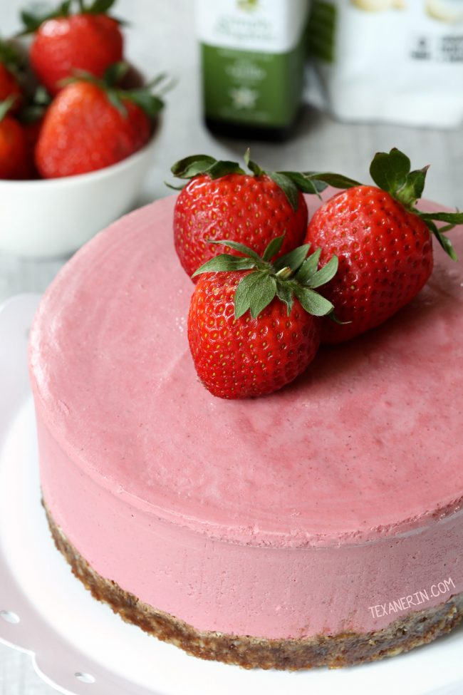 This paleo strawberry cheesecake is super creamy, vegan and raw and is loaded with extra strawberry flavor thanks to freeze-dried strawberries!