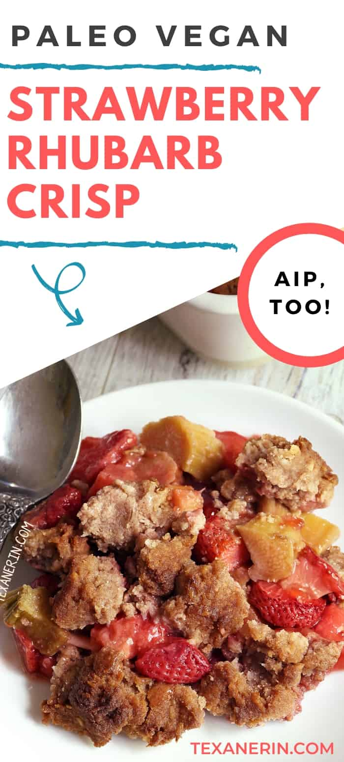 Vegan and paleo strawberry rhubarb crisp that's maple-sweetened, nut-free and also AIP-friendly. Can also be made with other types of fruit! A great paleo dessert recipe.