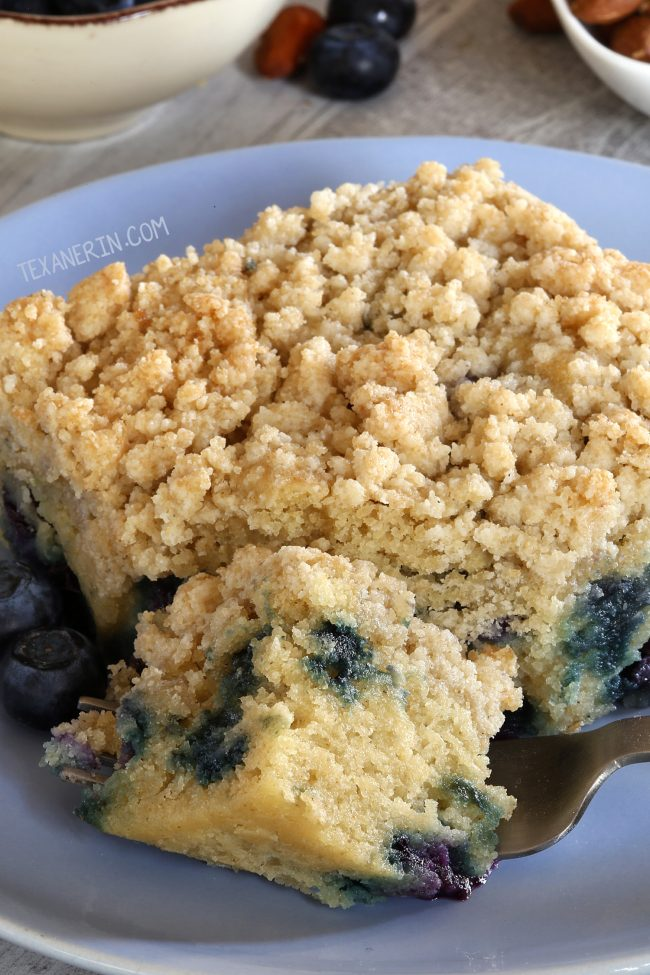 Incredibly moist and delicious blueberry coffee cake that can be made vegan, gluten-free, whole wheat and with all-purpose flour.