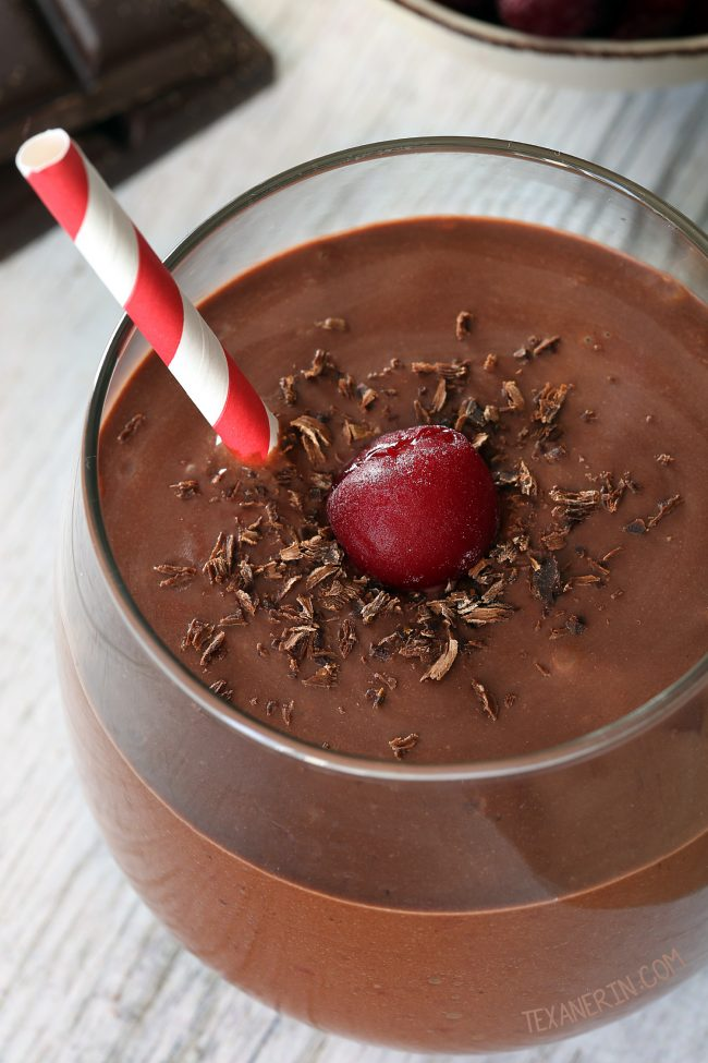 Chocolate cherry smoothie made with yogurt, banana, cocoa powder and tart frozen cherries! Vegan and dairy-free option and naturally gluten-free.