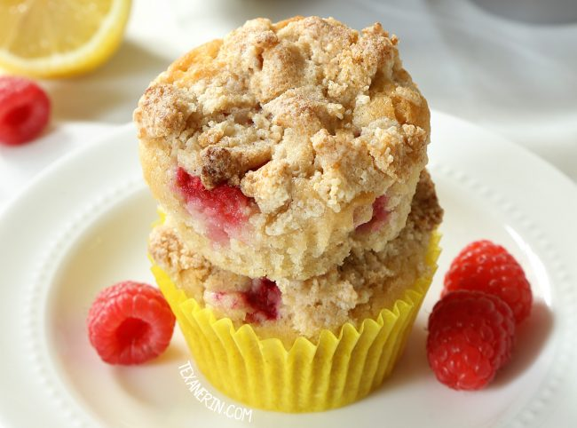These Raspberry Lemon muffins are incredibly moist, naturally vegan and can be made gluten-free, whole wheat or with all-purpose flour.