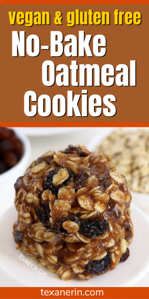 Super quick and easy No-bake Oatmeal Cookies (vegan, gluten-free, dairy-free, and 100% whole grain)