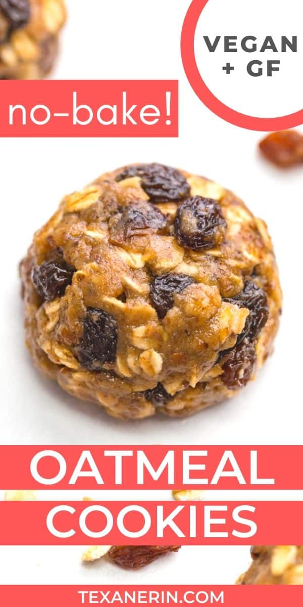 These easy no-bake oatmeal cookies are naturally vegan, gluten-free, dairy-free and 100% whole grain. Can be made as oatmeal raisin cookies or with chocolate chips.