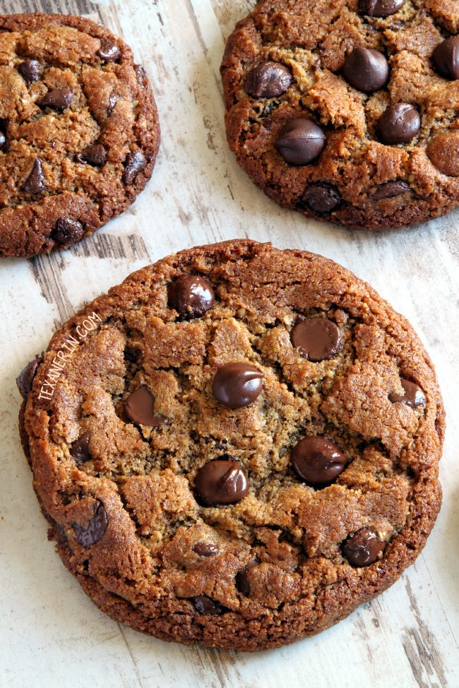 """These paleo peanut butter cookies use sunflower seed butter and have a crisp edge and chewy center! With a vegan option.</em><br /> &#8220;></p> <p>Even if you think you don't like sunflower seed butter (some people think it's a bit bitter), I bet you'll love these paleo """"peanut butter"""" cookies! Believe me – there's enough sweetener in there to take care of any bitterness issues!</p> <p>I will say that the strength of the sunflower seed taste depends on your sunflower seed butter. I use homemade sunflower seed and on those days when I accidentally toast the sunflower seeds a little too long and they've started to brown, the sunflower seed taste in the cookies is naturally stronger.</p> <p>If your cookies turn green or have some green spots, don't panic! It could happen (though I haven't had that issue). It's a normal reaction between the chlorophyll in the sunflower seeds and the baking soda. It doesn't change the taste and they haven't gone bad!</p> <p>I read in the <a target="""