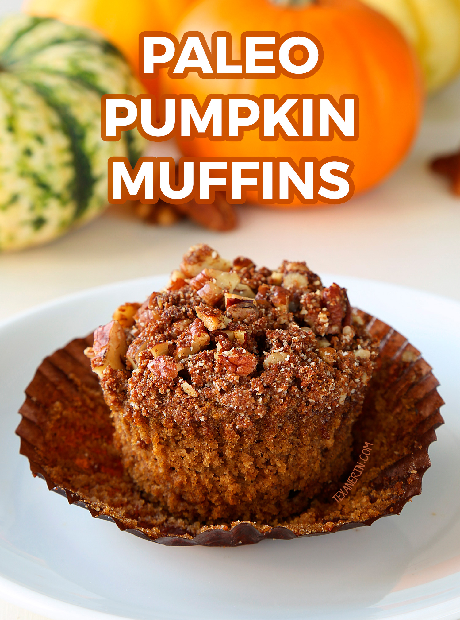 These paleo pumpkin muffins are topped with pecan streusel and have a great texture! With a video.