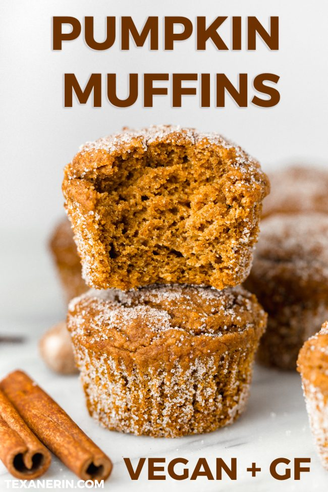 Vegan pumpkin muffins lightly sweetened with maple syrup and covered in cinnamon sugar. With gluten-free and whole wheat options.