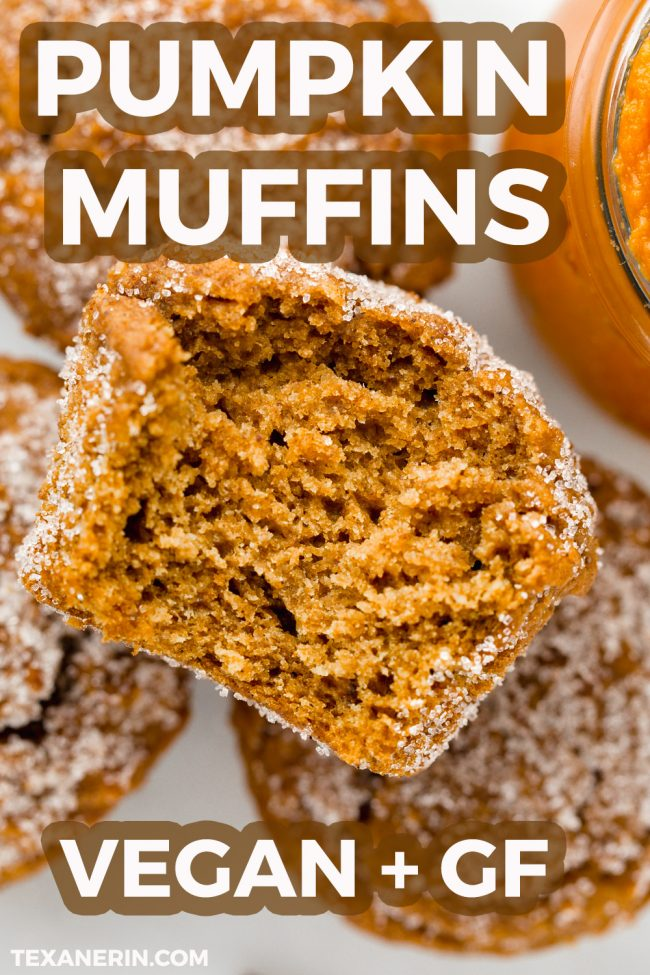 Easy vegan pumpkin muffins lightly sweetened with maple syrup and covered in cinnamon sugar. With gluten-free and whole wheat options.