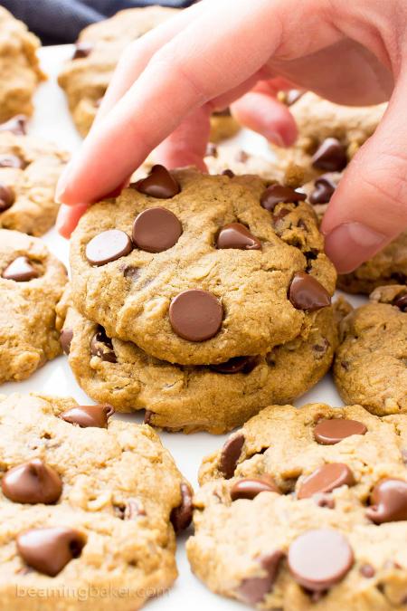 Gluten-free Vegan Oat Flour Chocolate Chip Cookies from Beaming Baker